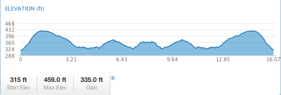 Elevation chart for the 16-miler.