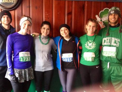 A prerace photo with my friends before the Holyoke St. Patrick's Day 10-K!