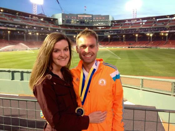 Celebrating post-marathon at Fenway!